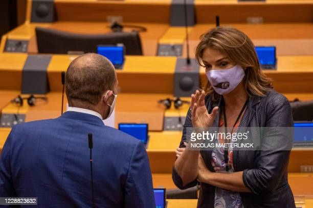 NVA's Theo Francken and Open Vld's Goedele Liekens pictured during a plenary session of the Belgian federal chamber held at the European Parliament...