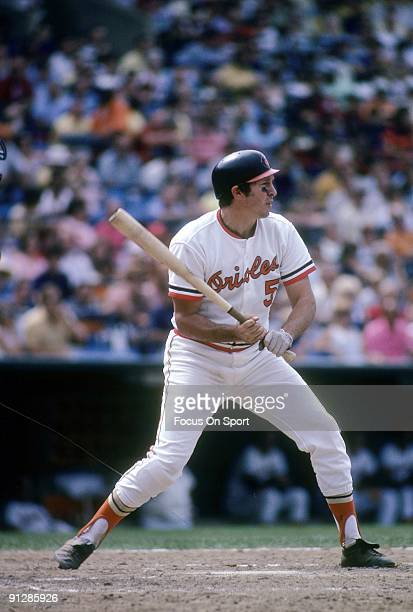 BALTIMORE MD CIRCA 1970's Third baseman Brooks Robinson of the Baltimore Orioles at the plate waiting on the pitch during a Major League Baseball...