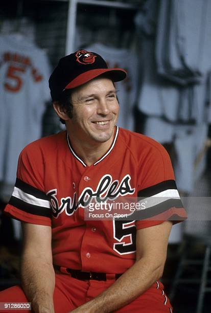 BALTIMORE MD CIRCA 1970's Third baseman Brooks Robinson of the Baltimore Orioles sitting in front of his locker before a circa 1970's Major League...