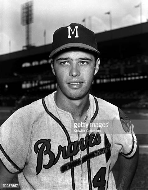 NEW YORK 1950's Third baseman Eddie Mathews of the Milwaukee Braves poses for a portrait prior to a game against the New York Giants in the 1950's at...