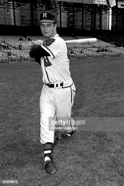 NEW YORK 1950's Third baseman Eddie Mathews of the Milwaukee Braves poses for an action portrait prior to a game in the 1950's against the New York...