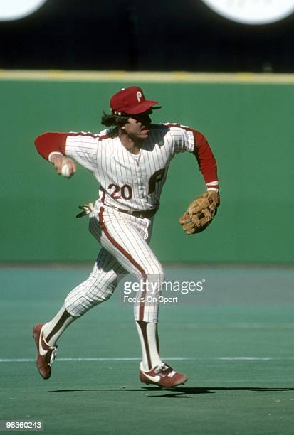 PHILADELPHIA PA CIRCA 1980's Third Baseman Mike Schmidt of the Philadelphia Phillies in action at making the play at thirdbase during a circa 1980's...
