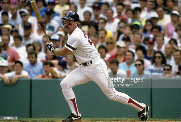 BOSTON MA CIRCA 1980's Third Baseman Wade Boggs of the Boston Red Sox swings and watches the flight of his ball during a circa mid 1980's Major...