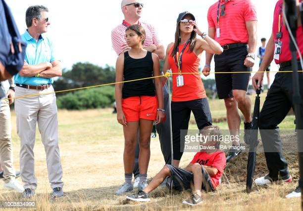 USA's Tiger Woods' girlfriend Erica Herman and his daughter Sam and son Charlie during day four of The Open Championship 2018 at Carnoustie Golf...