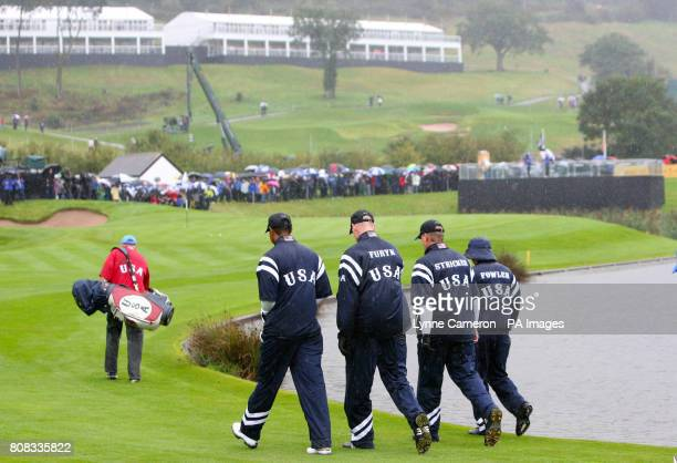 USA's Tiger Woods Jim Furyk Steve Stricker and Ricky Fowler during a practice round at Celtic Manor Newport