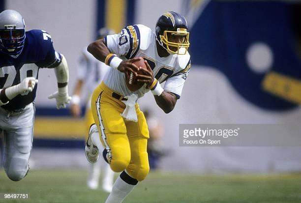 SAN DIEGO CA CIRCA 1980's Tight End Kellen Winslow of the San Diego Chargers in action carries the ball against the Seattle Seahawks circa mid 1980's...