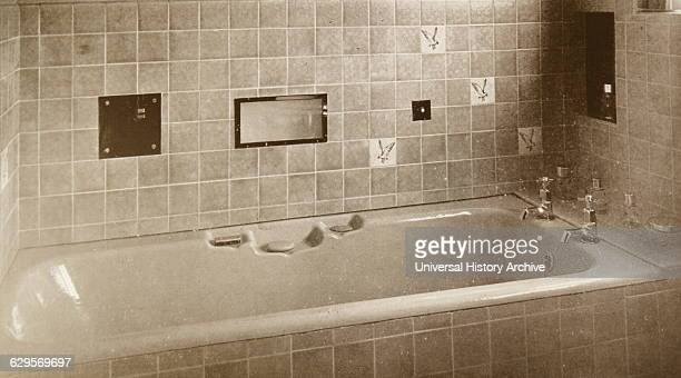 1940's tiled bathroom with bath British