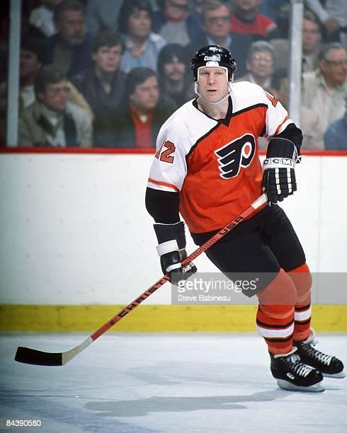 BOSTON MA 1980's Tim Kerr of the Philadelphia Flyers skates against the Boston Bruins at Boston Garden