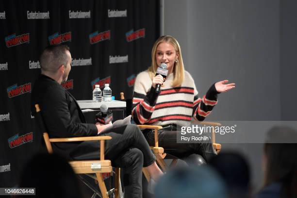 """EW's Tim Stack interviews Sophie Turner star of """"Dark Phoenix"""" onstage during Entertainment Weekly's panel at New York Comic Con on October 6 2018 in..."""