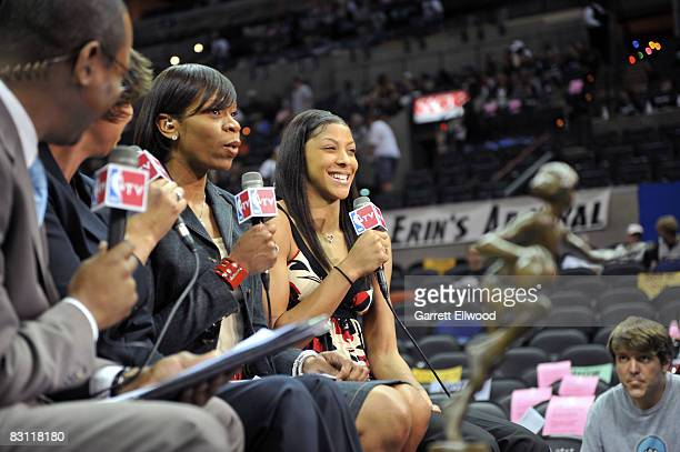 NBATV's Tina Thompson does pregame with Candace Parker of the Los Angeles Sparks prior to Game Two of the WNBA Finals on October 3 2008 at ATT Center...