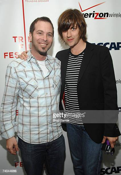 ASCAP's Tom Desavia and musician Rhett Miller pose at the ASCAP Tribeca Music Lounge held at the Canal Room during the 2007 Tribeca Film Festival on...