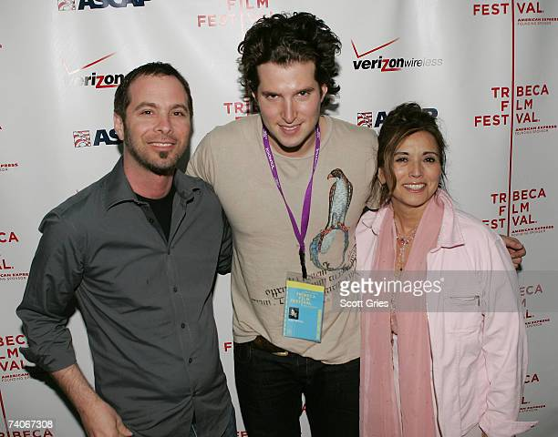 ASCAP's Tom Desavia musician Matt White and ASCAP's Loretta Munoz pose at the ASCAP Tribeca Music Lounge held at the Canal Room during the 2007...