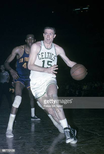 BOSTON MA CIRCA 1960's Tom Heinsohn of the Boston Celtics in action drives to the basket against the San Francisco Warriors during a mid circa 1960's...