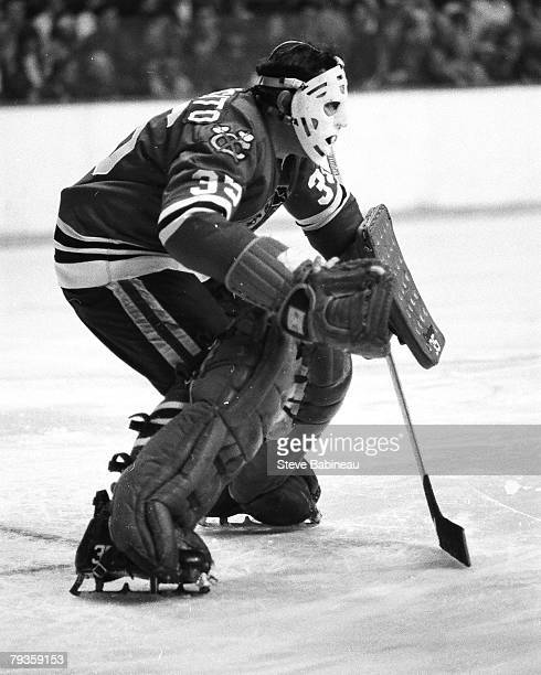 BOSTON MA 1970's Tony Esposito of the Chicago Black Hawks in action against the Boston Bruins at Boston Garden