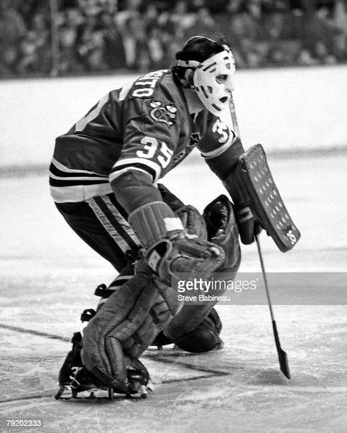 BOSTON MA 1970's Tony Esposito of the Chicago Black Hawks tends goal against the Boston Bruins at Boston Garden