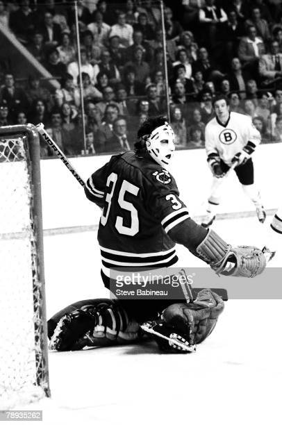 BOSTON MA 1970's Tony Esposito of the Chicago Blackhawks plays against the Boston Bruins