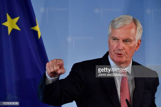 EU's top negotiator Michel Barnier addresses a press conference with German Foreign Affairs Minister prior to talks in Berlin on August 29 2018