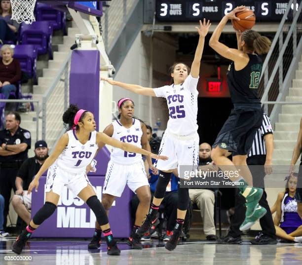 S Toree Thompson , Jada Butts , and Kianna Ray defend as Baylor's Alexis Prince puts up a shot on Sunday, Feb. 12, 2017 at Schollmaier Arena in Fort...