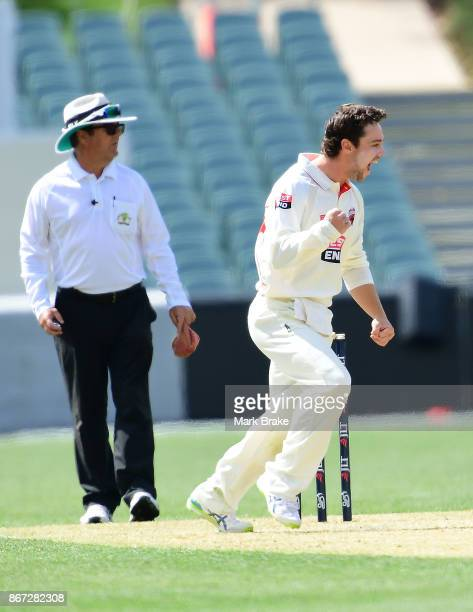 SA's TRavis Head gets the wicket of NSW's Daniel Hughes during day two of the Sheffield Shield match between South Australia and New South Wales on...
