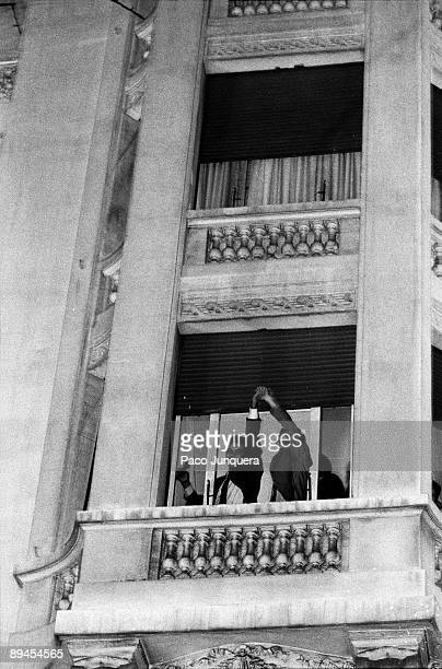 PSOE´s triumph in 1982 Felipe Gonzalez and Alfonso Guerra salute from the window of the PSOE´s headquarters in their first electoral victory...