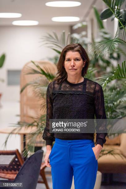S Valerie Van Peel pictured in marge of a broadcast of VTM as N-VA conservative Flemish nationalist party voted earlier today for two new...