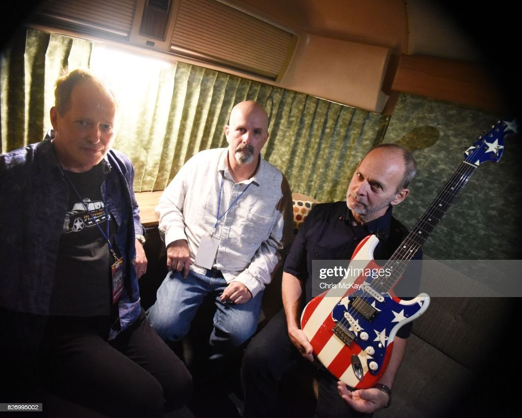 CBGB's veterans Richard Lloyd (Television), Peter Holsapple (The db's) and Wayne Kramer (MC5) meet backstage during the Artist2Artist Benefit For Homeless Veterans at The Office on August 5, 2017 in Athens, Georgia.