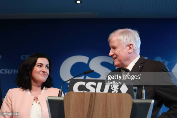 CSU's vice chairman Dorothee Baer stands next to Designated minister of interiour and home affairs and chairman of the CSU Horst Seehofer in Munich...