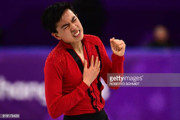 S Vincent Zhou competes in the men's single skating free skating of the figure skating event during the Pyeongchang 2018 Winter Olympic Games at the...