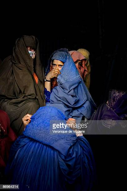 IDP's who fled the conflict and the Taliban domination in Swat Valley awaiting food aid on March 31 2009 in Mardan NorthWest Frontier Province...