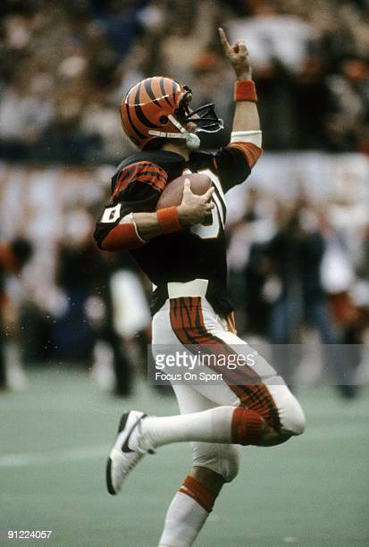 CINCINNATI OH CIRCA 1980's Wide Receiver Cris Collinsworth of the Cincinnati Bengals in action during a mid circa 1980's NFL football game at...