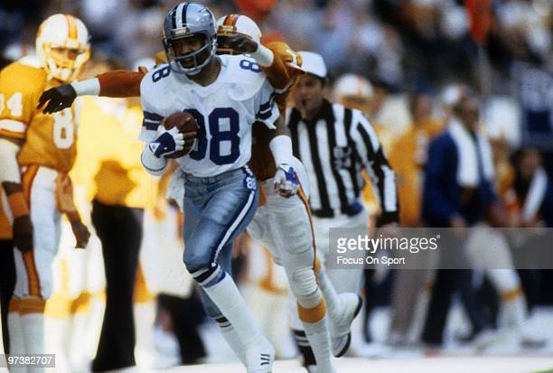 DALLAS TX CIRCA 1980's Wide Receiver Drew Pearson of the Dallas Cowboys in action carries the ball against the Tampa Bay Buccaneers circa 1980's...