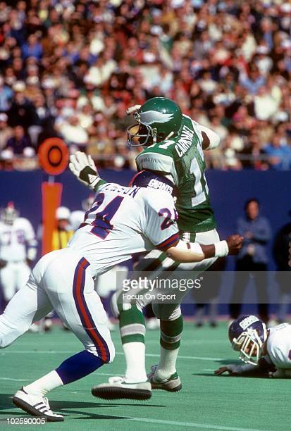 RUTHERFORD NJ CIRCA 1970's Wide Receiver Harold Carmichael of the Philadelphia Eagles is hit by defensive back Terry Jackson of the New York Giants...