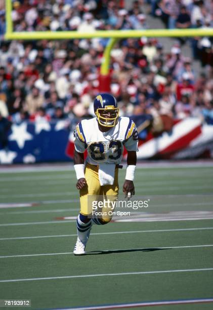 FOXBORO MA CIRCA 1970's Wide Receiver John Jefferson of the San Diego Chargers runs a pass rout against the New England Patriots during a late circa...