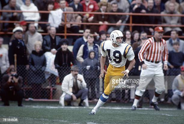 CIRCA 1960's Wide Receiver Lance Alworth of the San Diego Chargers runs a pass rout during a circa 1960's NFL football game Alworth played for the...