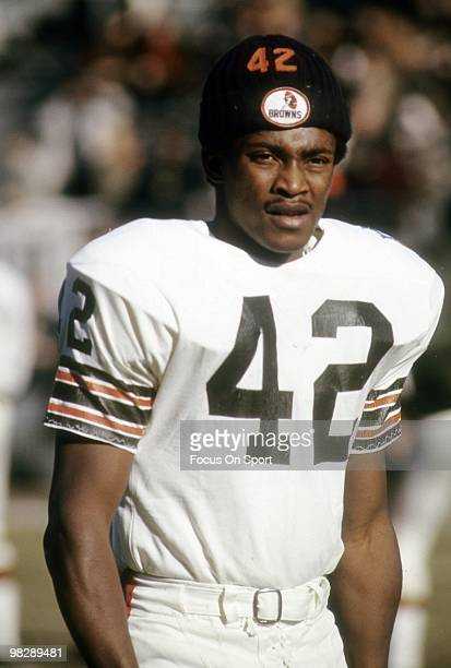 CIRCA 1960's Wide receiver Paul Warfield of the Cleveland Browns on the field during pregame warmups circa late 1960's before an NFL football game...