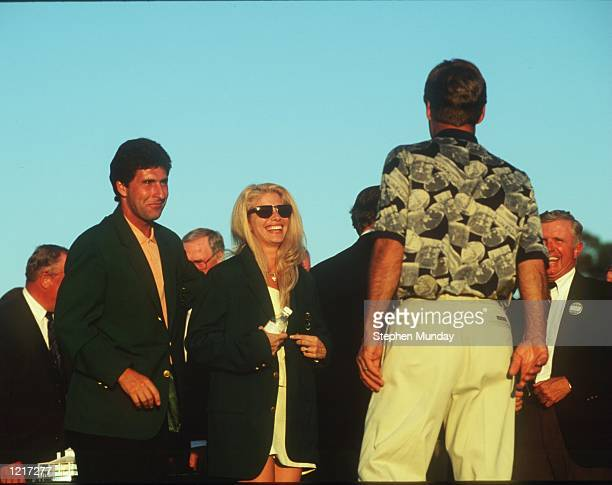 CRENSHAW's WIFE JULIE TRIES ON HIS GREEN JACKET AFTER HE WINS THE 1995 US MASTERS GOLF CHAMPIONSHIP AT THE AUGUSTA NATIONAL GOLF COURSE IN AUGUSTA...