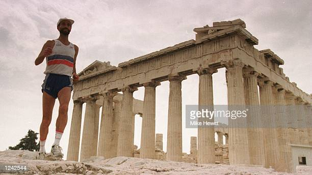 YEAR's WINNER OF THE SPARTATHLON PREPARING FOR TOMORROW's RACE BY THE PARTHENON IN ATHENS THE SPARTATHLON IS A 155 MILE NONSTOP RACE FROM ATHENS TO...