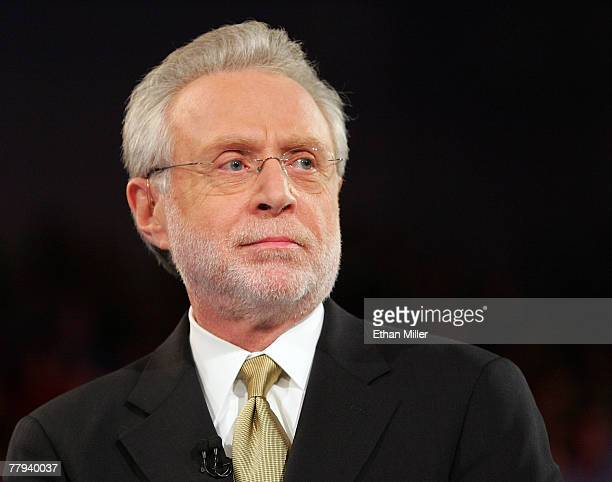 CNN's Wolf Blitzer moderates a Democratic presidential debate at UNLV sponsored by CNN November 15 2007 in Las Vegas Nevada
