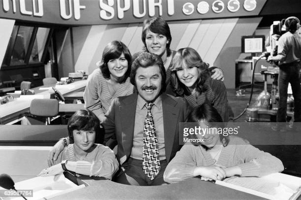 S 'World of Sport' presenter Dickie Davies with five women who work with him. Pictured with Dickie, Dinah Quinnen , Linda King, Sue Turner, Carole...