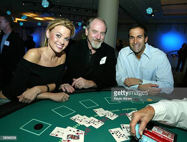 GSN's World Series of Blackjack cohosts Melana Scantlin casino veteran Max Rubin and Matt Vasgersian play blackjack at the 2004 TCA Winter Tour party...