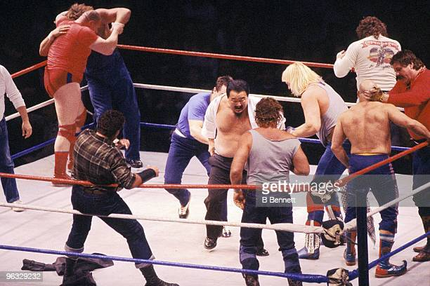 S: Wrestlers take part in the Royal Rumble circa 1980's at the Nassau Coliseum in Uniondale, New York.
