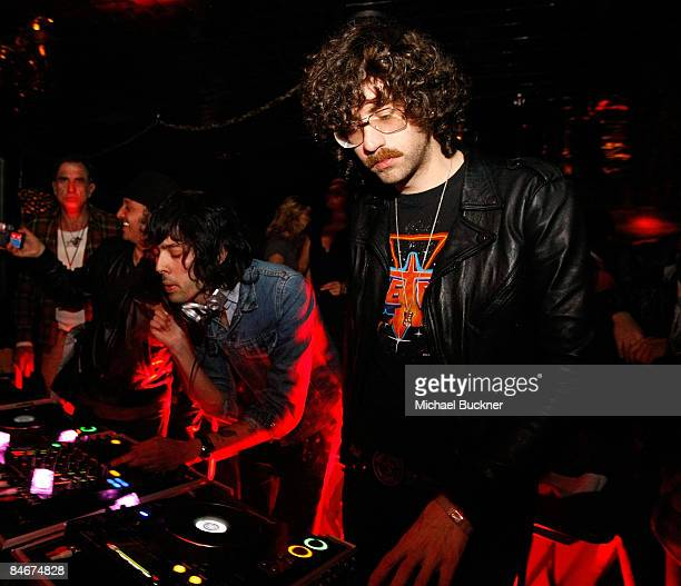 DJ's Xavier de Rosnay and Gaspard Auge of Justice attend the Belvedere IX Launch Party featuring Justice at My House on February 5 2009 in Hollywood...