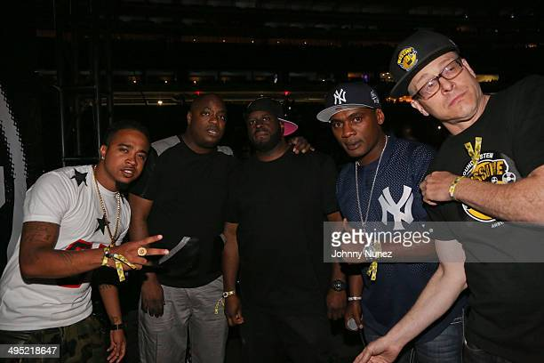DJ's Young Chow Mister Cee Funkmaster Flex Jabba and Bobby Konders attend Hot 97 Summer Jam 2014 at MetLife Stadium on June 1 2014 in East Rutherford...