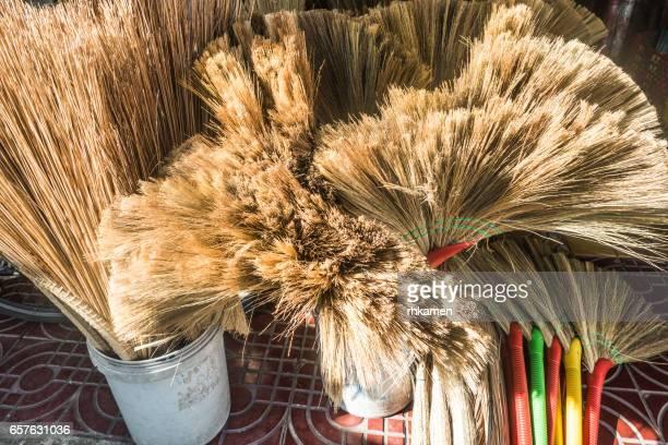 Sa Dec or Sadec, Dong Thap Province, Vietnam. Brooms.