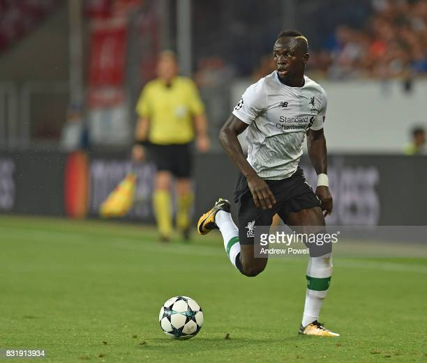 Sa dio Mane and Mohamed Salah of Liverpool during the UEFA Champions League Qualifying PlayOffs Round First Leg match between 1899 Hoffenheim and...