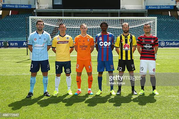 Saa Ognenovski of Sydney FC John Hutchinson of the Central Coast Mariners Matt Smith of the Brisbane Roa Kew Jaliens of the Newcastle Jets Andrew...