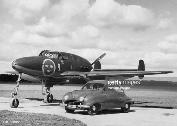 Saab 92 with Saab 21 Jet Fighter plane Creator Unknown