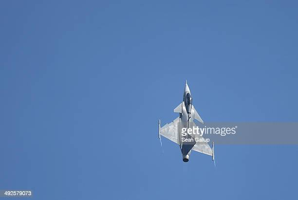 Saab JAS39 Gripen jet fighter of the Czech air force flies at the ILA 2014 Berlin Air Show on May 21 2014 in Schoenefeld Germany The ILA 2014 is open...