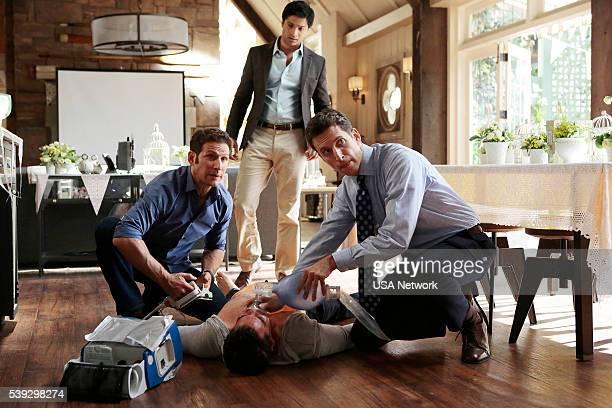 PAINS 'Saab Story' Episode 805 Pictured Mark Feuerstein as Dr Hank Lawson Rupak Ginn as Rajan Bandyopadhyay Michael B Silver as Ken Keller Ben...