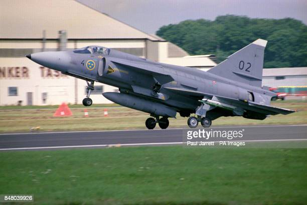 Saab Viggen high-performance Mach 2 multi-role aircraft of the Swedish Air Force arrives at Fairford, Gloucestershire, for the Royal Air Force...
